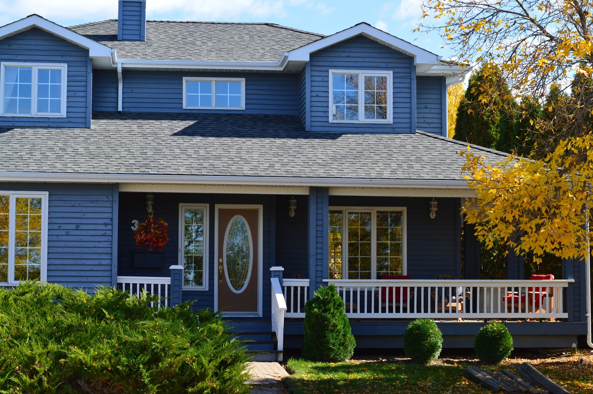 Front of the Blue American Style House - SolVibrations