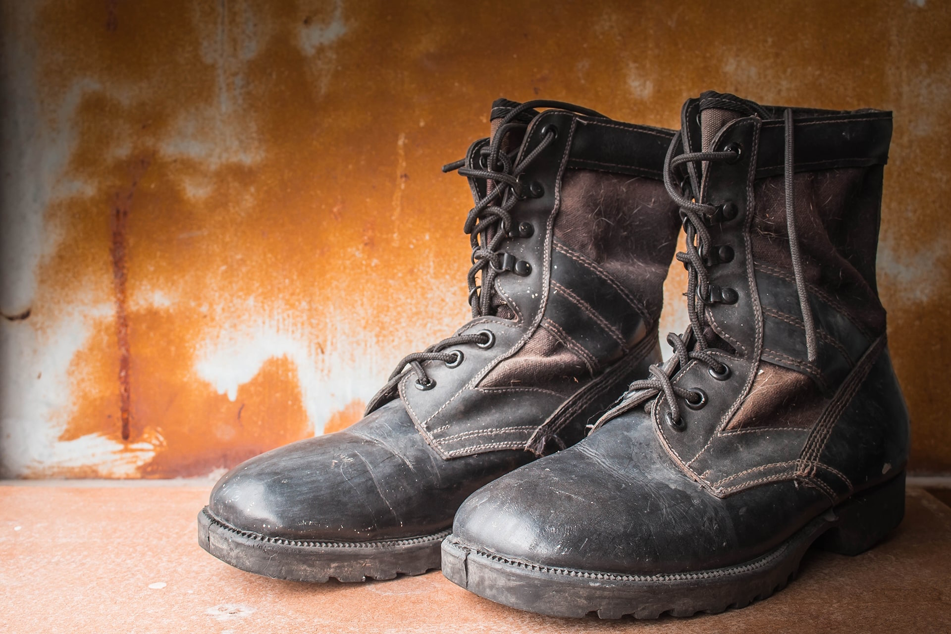 Old Black Leather Boots - SolVibrations