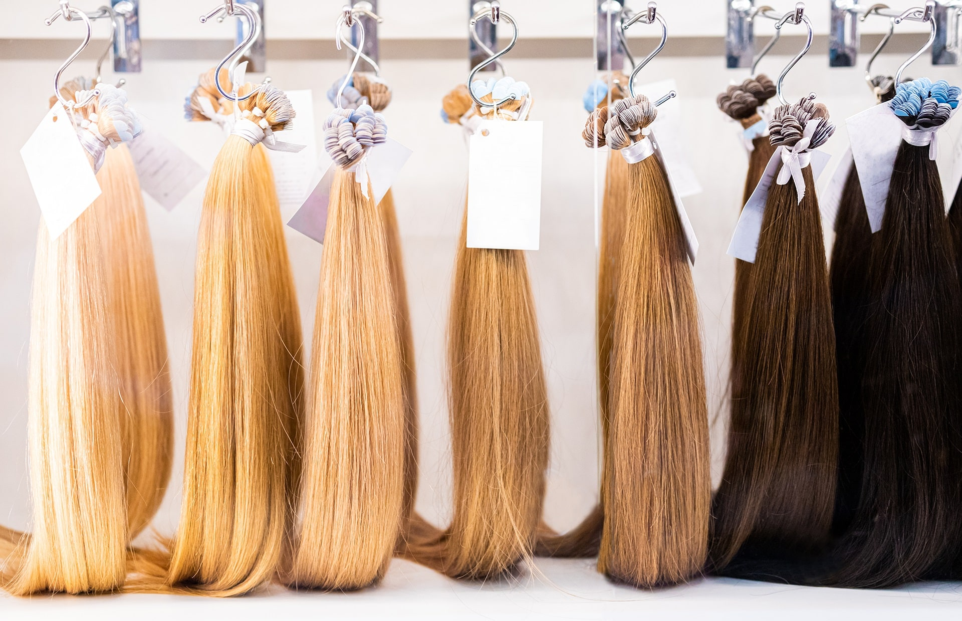 Exhibition of Multicolored Clip-In Hair Extensions in Beauty saloon - SolVibrations