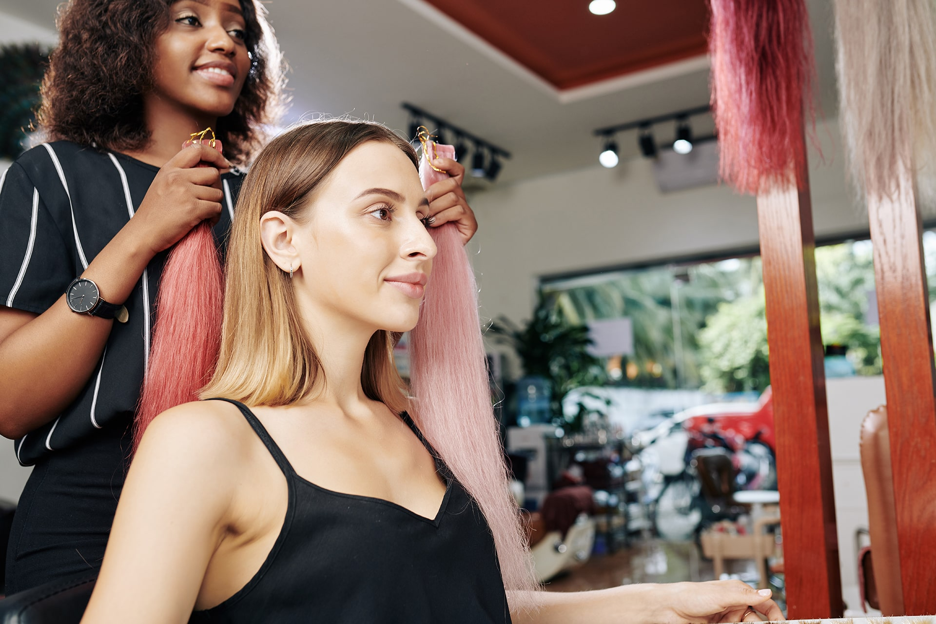 Hairstylist Choosing Best Colorful Extensions - SolVibrations